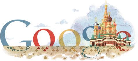 google纪念莫斯科圣巴西尔大教堂建成450周年logo